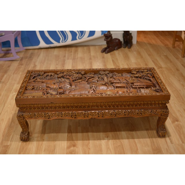 Asian Hand-Carved Teak Coffee Table | Chairish