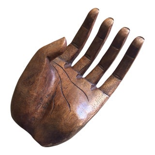 Vintage Carved Wood Human Hand Sculpture