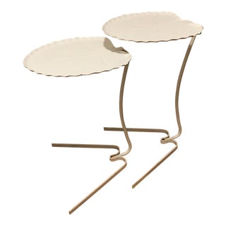 1970s Hollywood Regency Salterini Lily Pad Nesting Iron Side Tables - a Pair For Sale