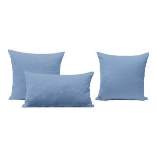 Orange + Blue Outdoor Throw Pillows - Set of 3 For Sale