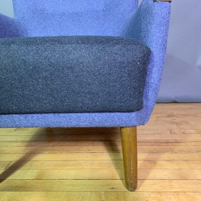 1950s Danish Armchair, New Kvadrat Felted Wool Upholstery For Sale In New York - Image 6 of 11