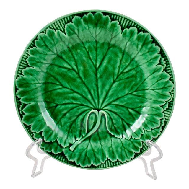 Wedgwood Majolica Green Glazed Cabbage Leaf & Basket Plate For Sale