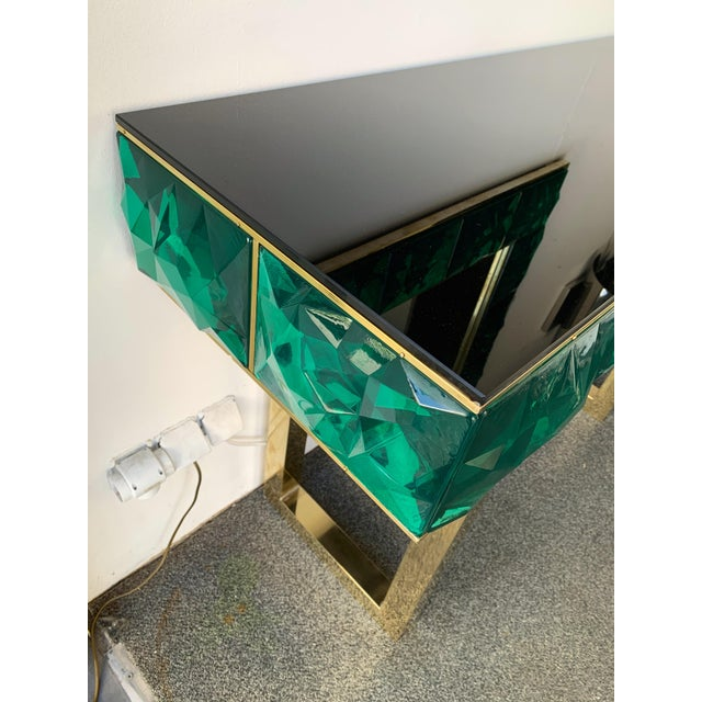 Metal Contemporary Brass Mirror Console with Green Murano Glass, Italy For Sale - Image 7 of 13
