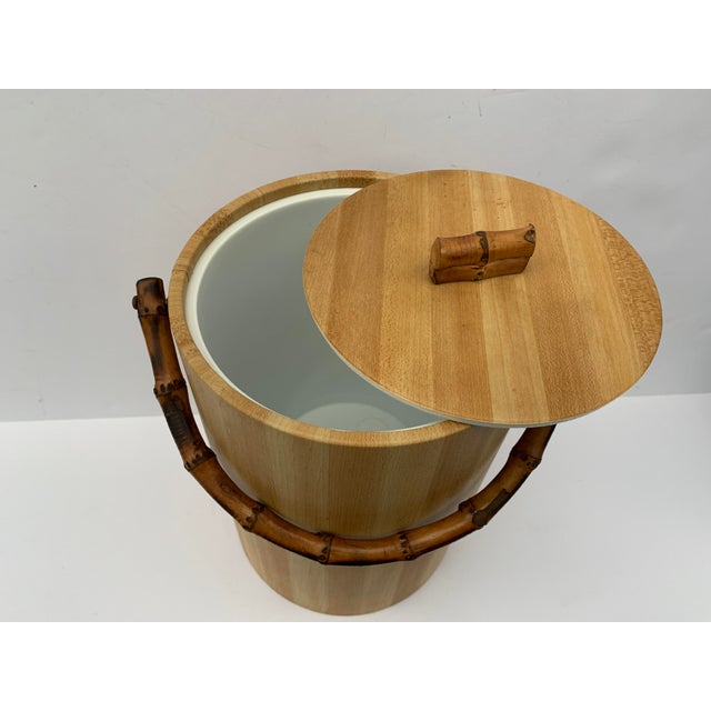 Mid 20th Century MCM Vinyl and Bamboo Ice Bucket Set For Sale - Image 5 of 13