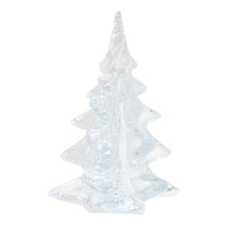 """1960s Mid Century 9"""" Tall Crystal Christmas Tree With Spiral Top For Sale"""