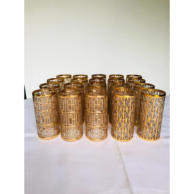 Stunning set of 20 Imperial Glass tumblers in 22k gold trim, in the well know Shoji and Tabique de Oro patterns (12 Shoji,...