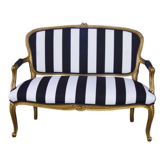 Vintage French Louis XV Style Settee White Black and Gold Stripe For Sale
