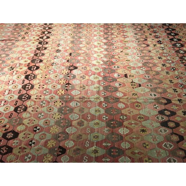 """Vintage Turkish Kilim Rug - 9'10"""" x 11'2"""" - Image 3 of 8"""
