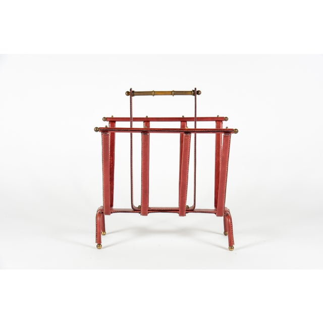 French 1950s Stitched Leather Magazine Rack by Jacques Adnet For Sale - Image 3 of 9