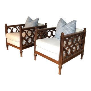 Mid-Century Hollywood Regency Club Chairs - A Pair For Sale