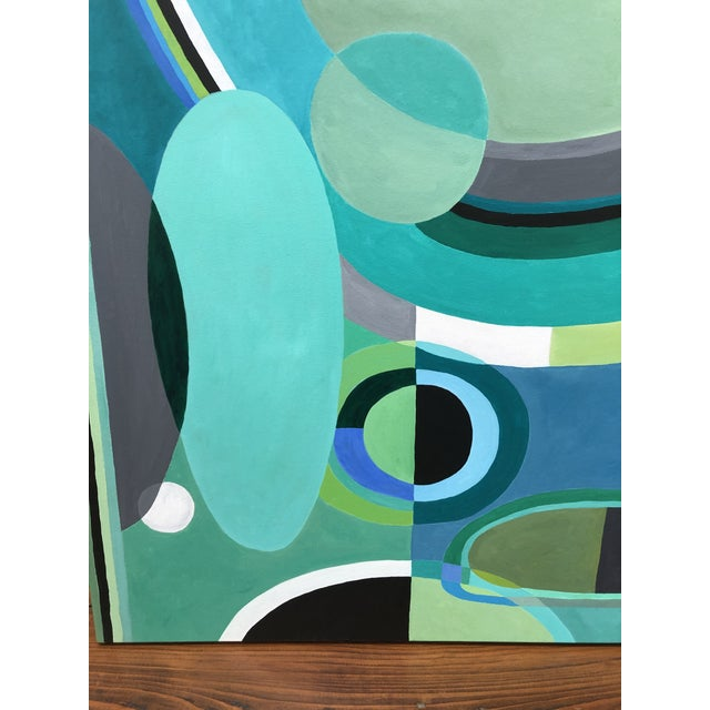 Abstract Large Rectangular Abstract Painting in Blues and Greens For Sale - Image 3 of 7