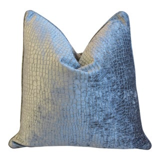 "Gray/Silver Crocodile Alligator Textured Velvet Feather/Down Pillow 23"" Square For Sale"