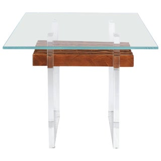 Lucite, Wood and Glass Side Table For Sale