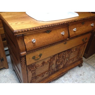 19th Century Victorian Tiger Oak Sink Commode Cabinet Preview