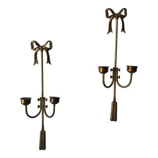 Vintage Brass Tassel Detail Candle Holders - a Pair For Sale
