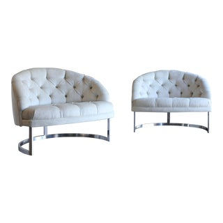Selig Deep Tufted Barrel Back Lounge Chairs - a Pair
