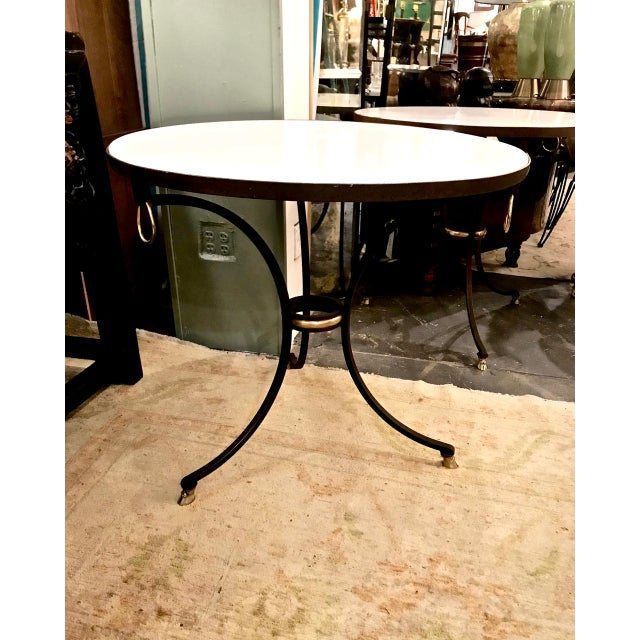 Gold Pair Wrought Iron & Marble Neoclassical Side Tables C.1970-1980 For Sale - Image 8 of 8