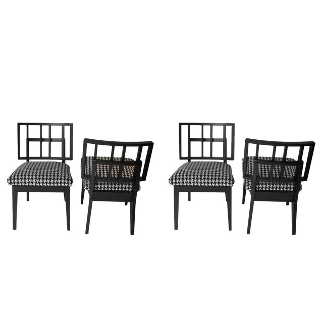Mid-Century Modern Griddled Back Black Wooden Side Chairs - Set of 4 For Sale