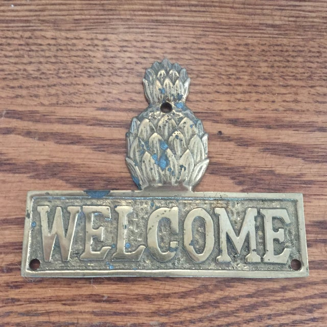 Vintage Hollywood Regency Brass Pineapple Placquard Welcome Sign For Sale - Image 4 of 9