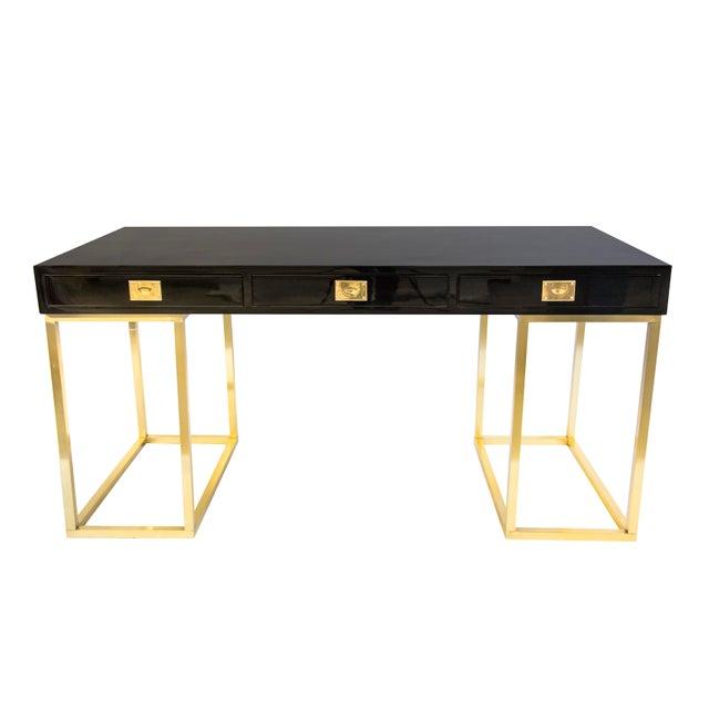 Hollywood Regency Guy Lefevre Black Lacquer Brass Writing for Desk for Jansen For Sale - Image 3 of 3