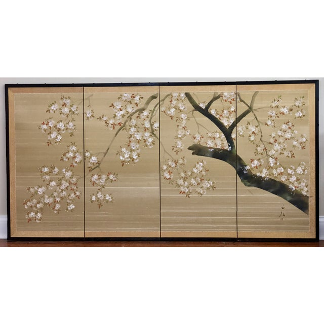 Vintage Four Panel Hand Painted Byobu Folding Screen of Cherry Blossoms For Sale - Image 12 of 12