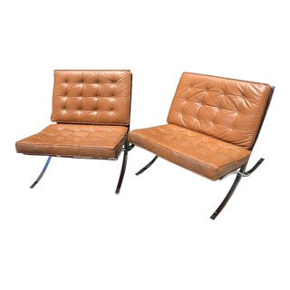 Vintage Leather Barcelona Chairs - a Pair For Sale