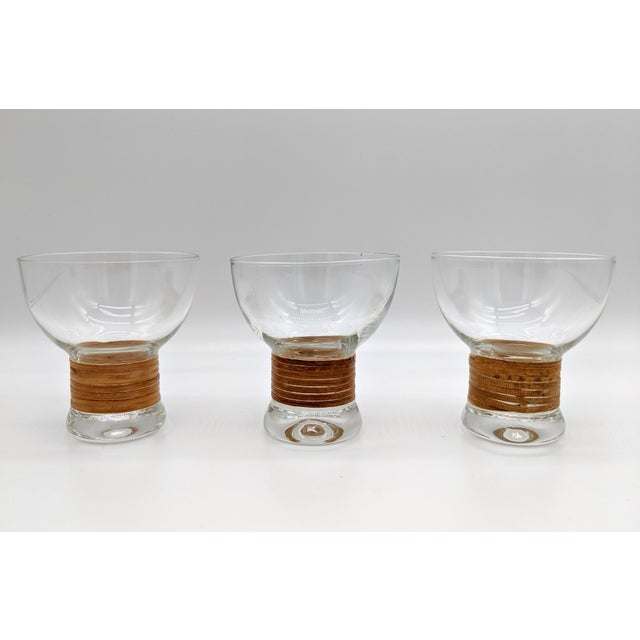Mid Century Glass and Rattan Bar Service - Set of 10 For Sale - Image 9 of 12