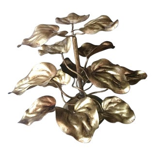 1960s Italian Hollywood Regency Gold Rhubarb Leaf Sculpture