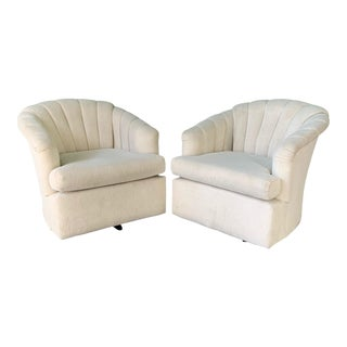 Vintage Channel Back Tufted Swivel Club Chairs - Set of Two For Sale