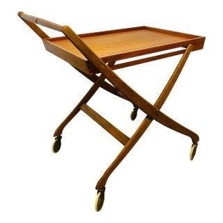 Vintage Danish Teak Bar/Serving Cart Folding Tray Table Mid Century Modern For Sale