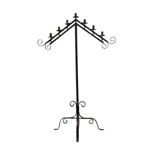 Early 20th Century Standing 7 Light Wrought Iron Candelabra Stand For Sale
