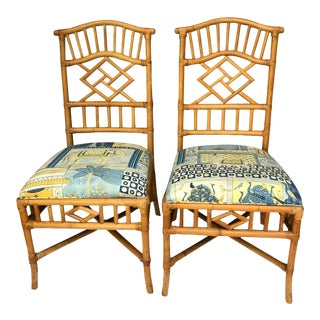 1990's Vintage Chippendale Style Geometric Rattan Side Chairs Blue & White- A Pair For Sale