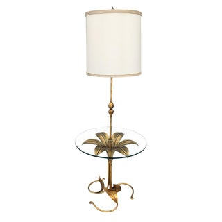 1960s Hollywood Regency Brass Floral Table Floor Lamp For Sale
