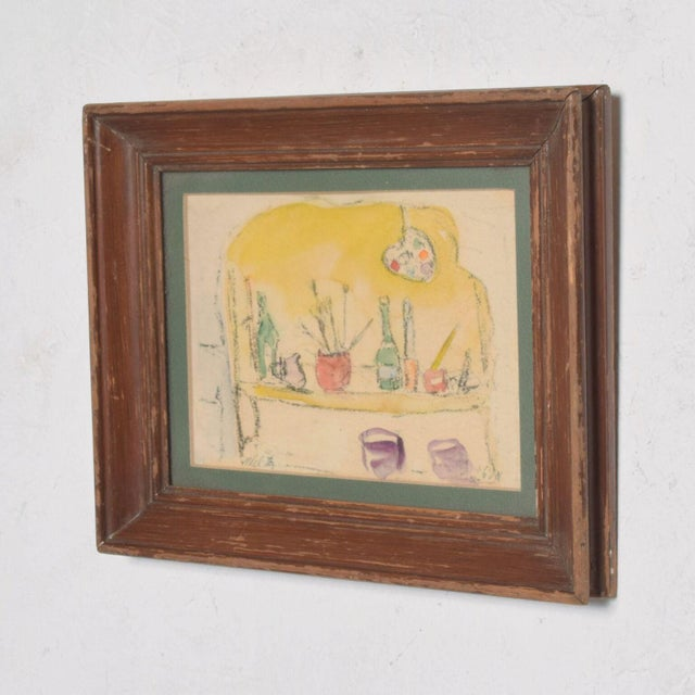 For your consideration: Vintage Still Life Drawing in yellow, green and purple colors Signed which appears to be Melita in...