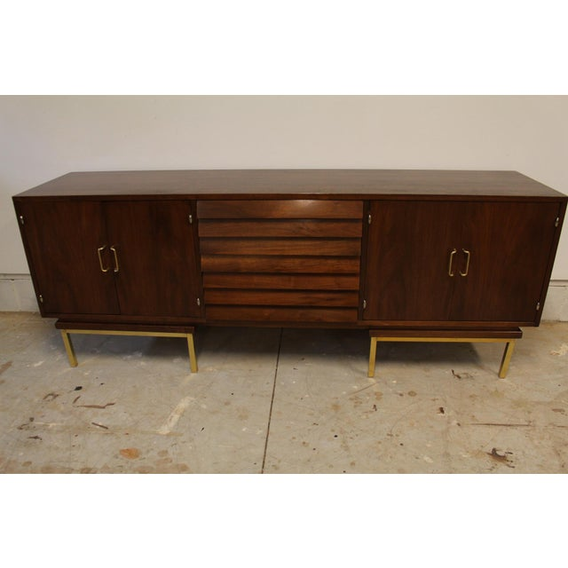 Wood American of Martinsville Dania Walnut Credenza For Sale - Image 7 of 7
