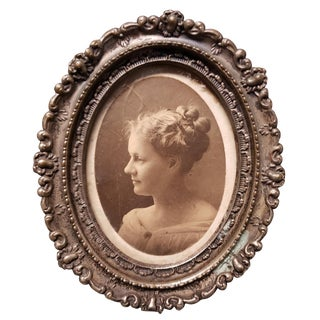 Late 19th Century Female Portrait Photograph in Metal Art Nouveau Frame For Sale