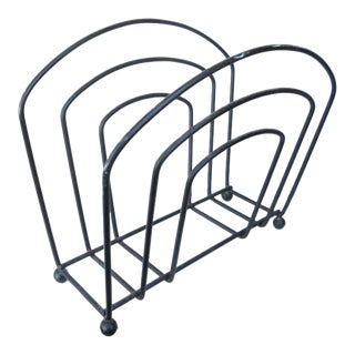 Minimalist Wrought Iron Magazine Stand For Sale