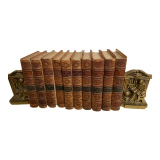 19th Century Louis Philippe Lady Catherine Books, 1873 & Bookends - Set of 12 For Sale