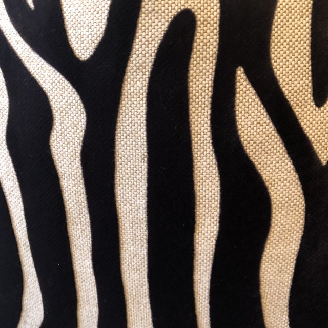 "Custom pair of 22"" pillows covered in a zebra print cut velvet on linen fabric. These stunning pillows are self welted,..."