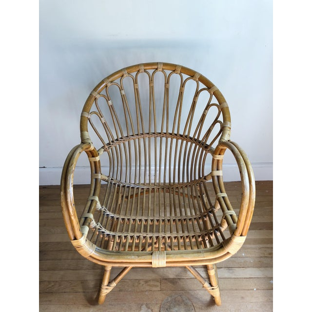 Fabulous Franco Albini style lounge chair of bent bamboo, in excellent original condition.
