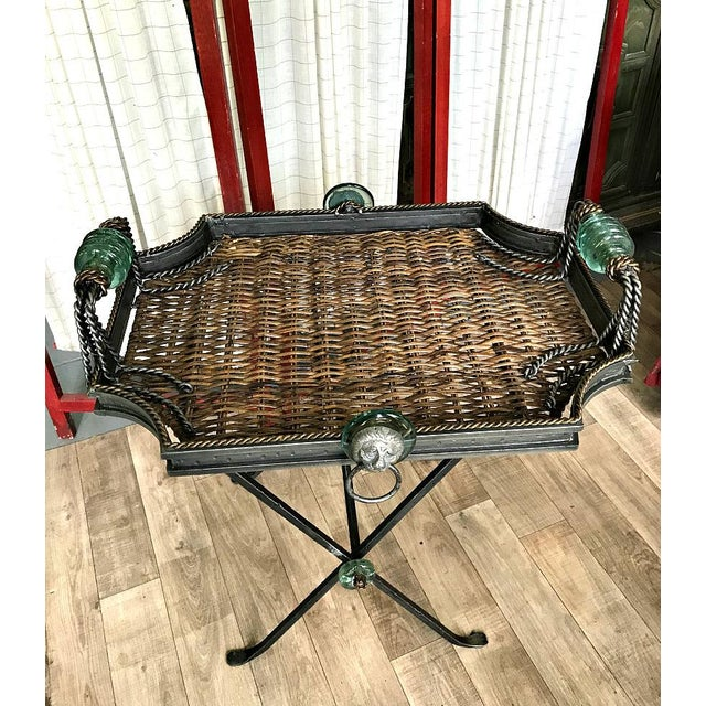 Nice Neiman Marcus Folding Metal & Rattan Tray Table 1990s. Rattan top lifts off. Table base folds. Very good side table.