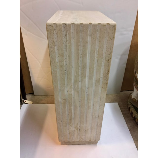 Mid-Century Modern Vertical Cut Travertine Console Pedestal For Sale - Image 3 of 10
