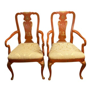 Pair of Chinese Red Chinoiserie Arm Chairs by Kindel C.1980 For Sale