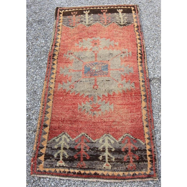 Mid-20th C. Vintage Antique Tribal Oushak Hand Knotted Turkish Rug - 1'8 X 3'5 - Image 2 of 5