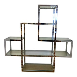Mid Century Milo Baughman Chrome and Glass Large Étagère Shelving Unit For Sale