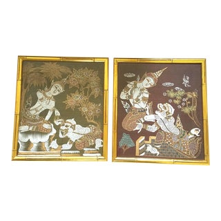 1950s Vintage Gilt Faux Bamboo Framed Silk Screen Prints - A Pair For Sale