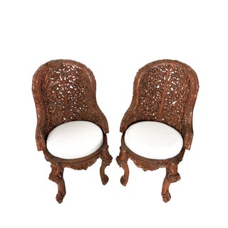 Ornate Anglo Indian High Back 'Tree of Life' Side or Accent Chairs - a Pair Preview
