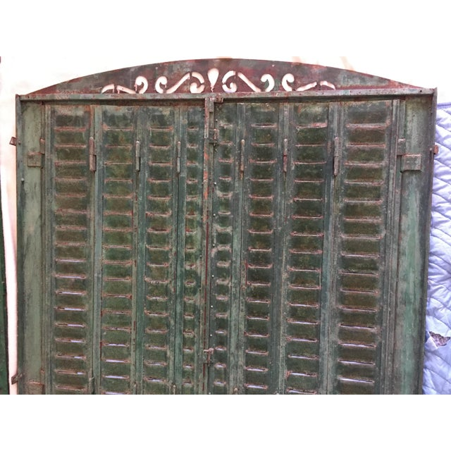 Metal Antique Iron Tall Arched French Window Shutter For Sale - Image 7 of 9