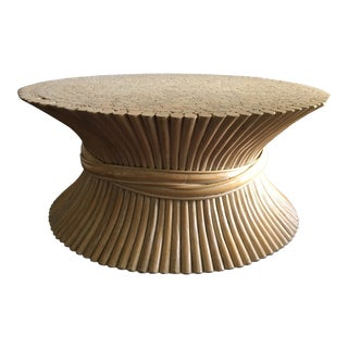 1970s McGuire Table Modern Sheath of Wheat Coffee Table For Sale