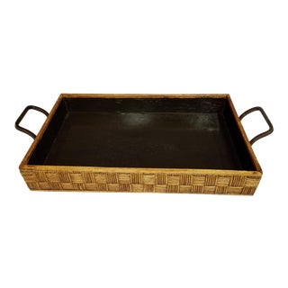 Vintage Checkerboard Woven Rattan & Wood Tray For Sale